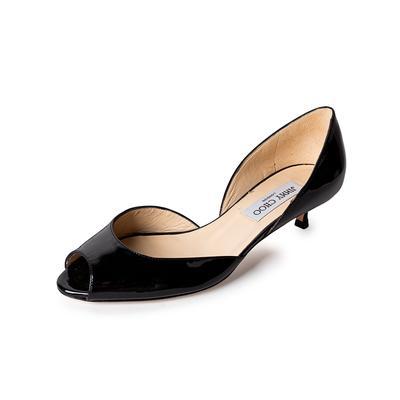 Jimmy Choo Size 7.5 Patent Peep Toe Kitten Heels