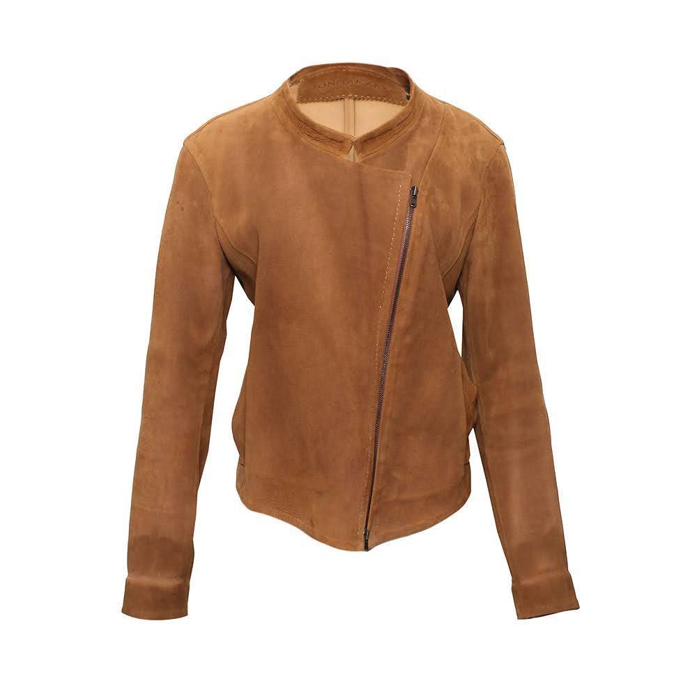 Donna Karan Size 8 Brown Leather Jacket