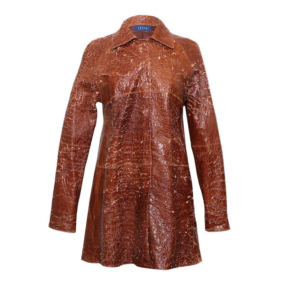 Illia Size 6 Brown Leather Coat