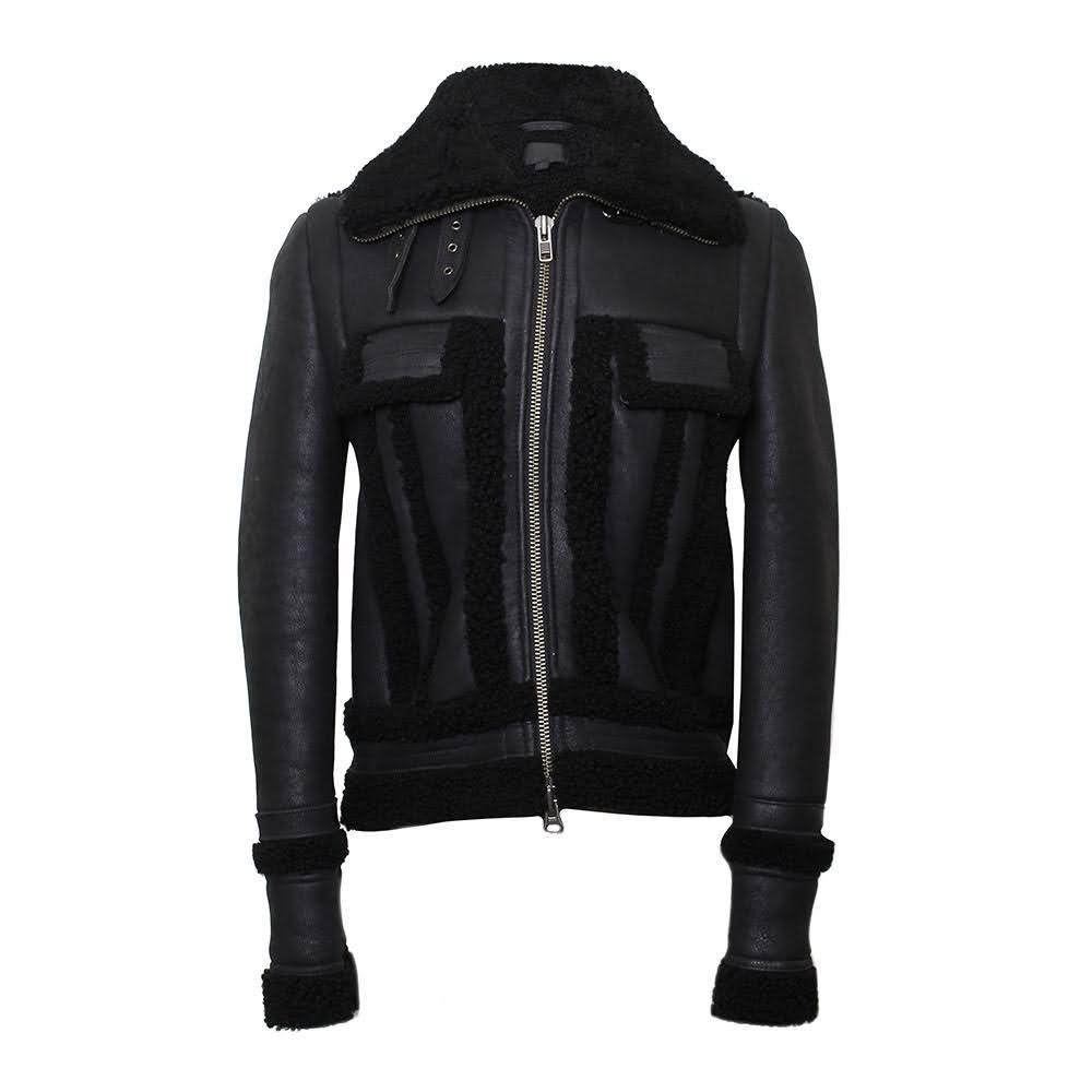 Intermix Size Small Leather Bomber Jacket