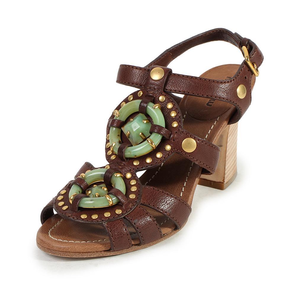 Miu Miu Size 8 Leather & Jade Strappy Heels