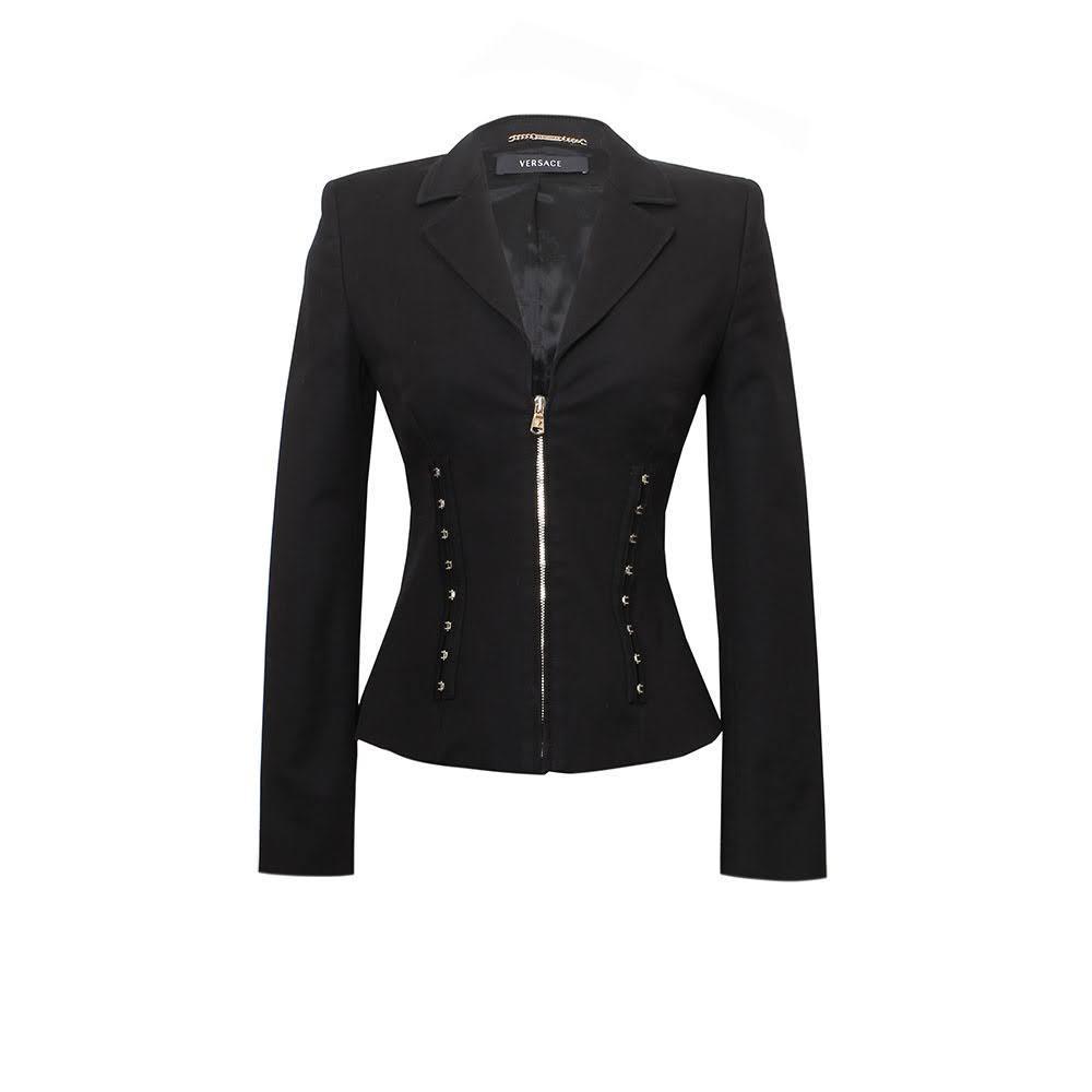 Gianni Versace Size 8 Black Zip Blazer