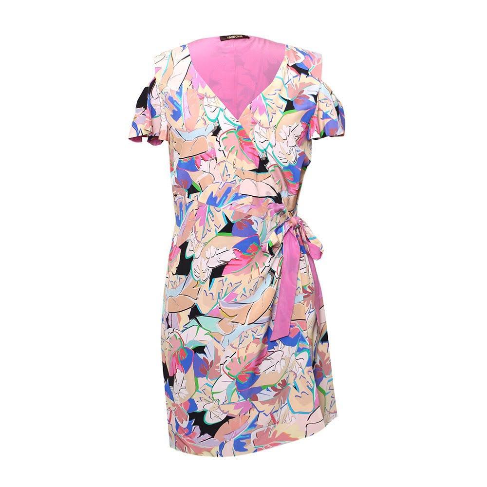 Roberto Cavalli Size M Silk Printed Tie Dress