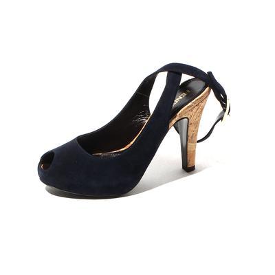 Fendi Size 6.5 Peep Toe Suede Cork Heels