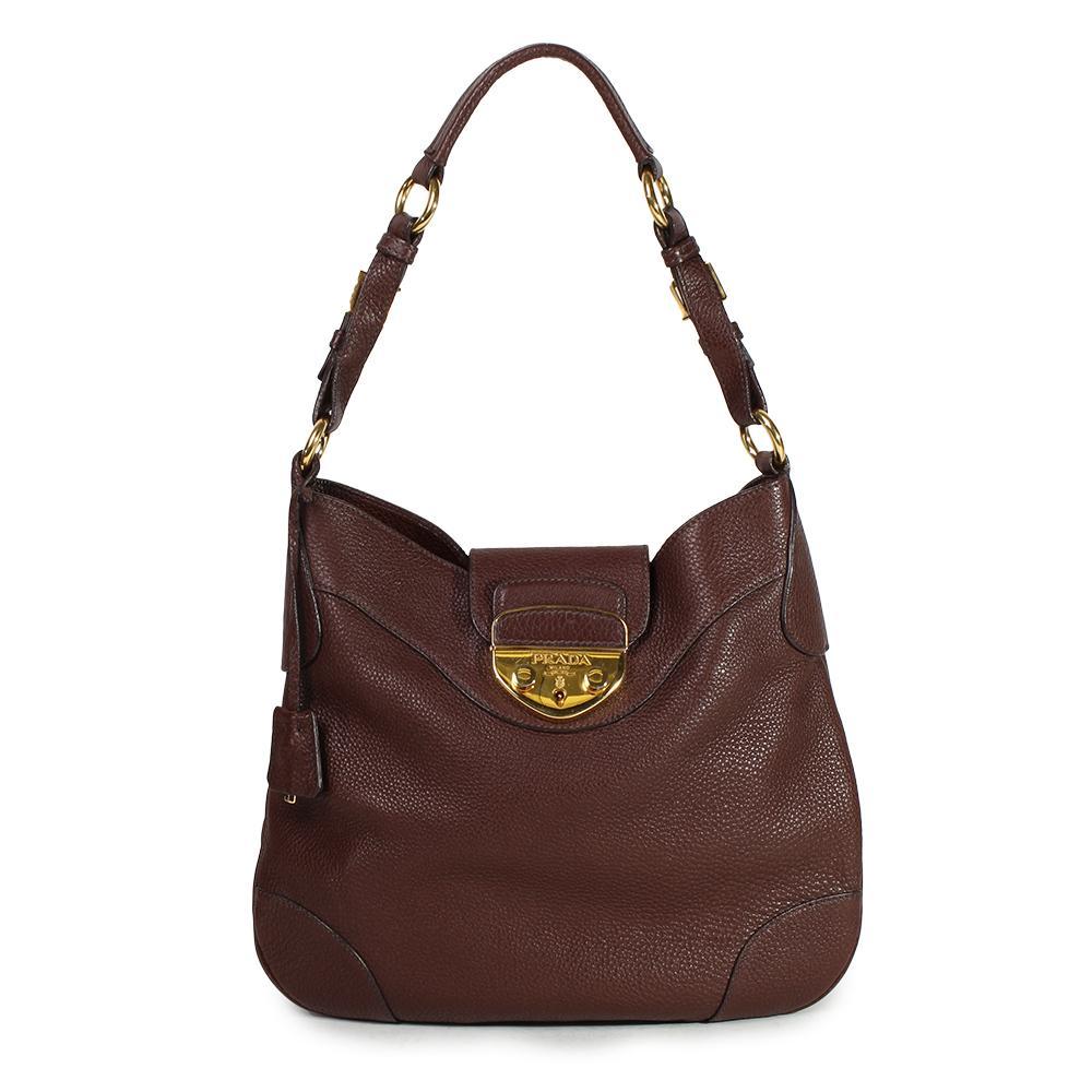 Prada Brown Leather Hobo Shoulder Bag