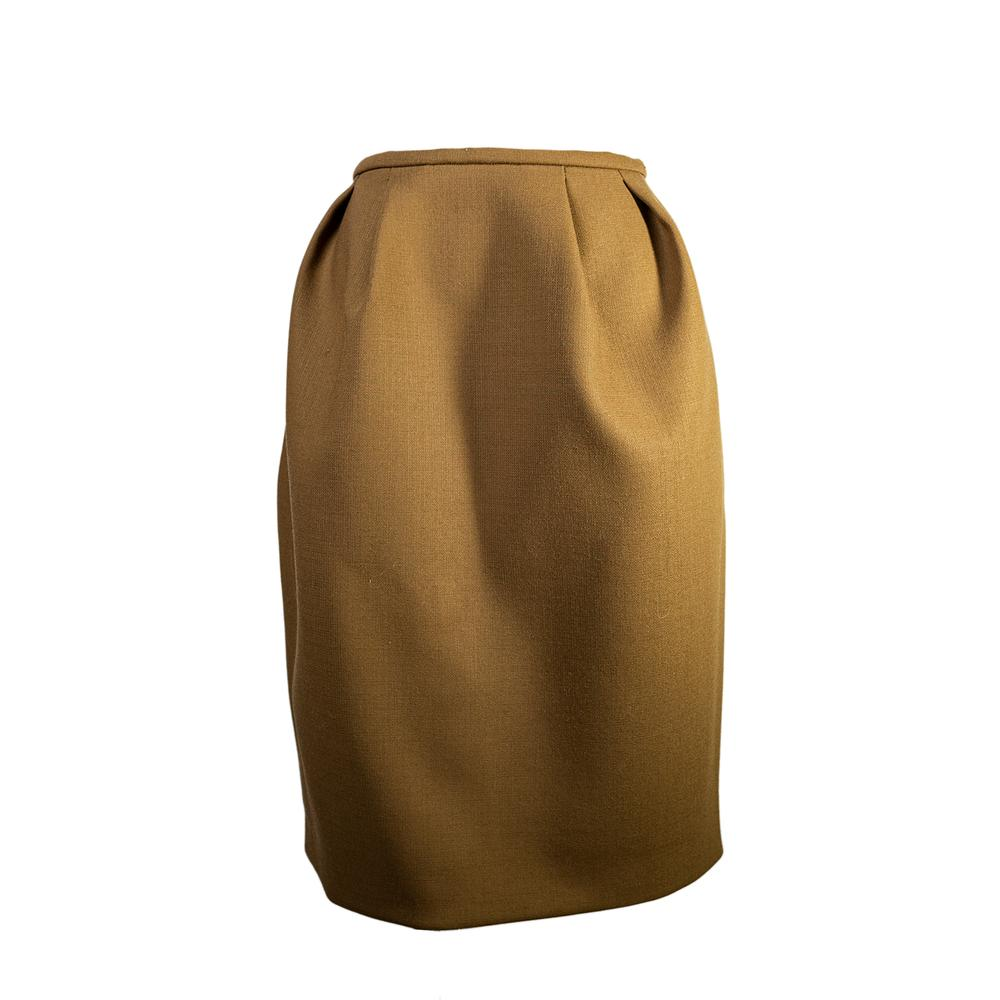 Tan Size 8 High Waisted Wool Skirt