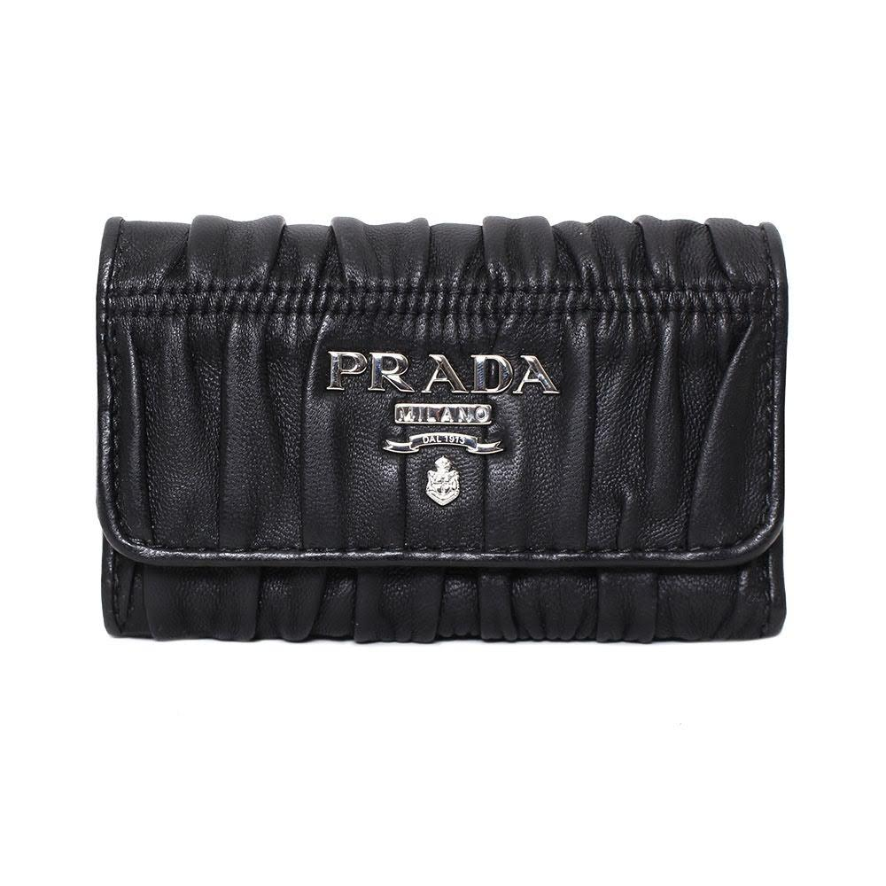 Prada Black Leather Key Holder