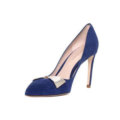 Stuart Weitzman Size 7.5 Blue Suede Heels