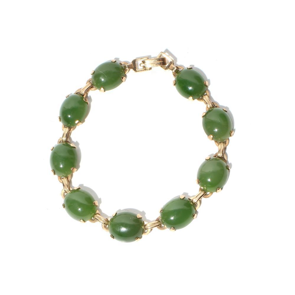 14k Yellow Gold Jade Link Bracelet