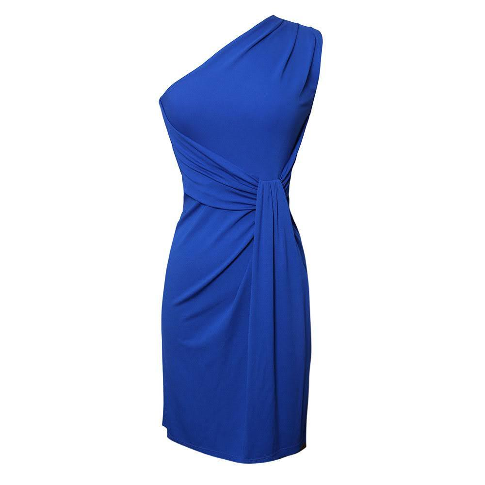 Michael Kors Size S Blue One Shoulder Dress