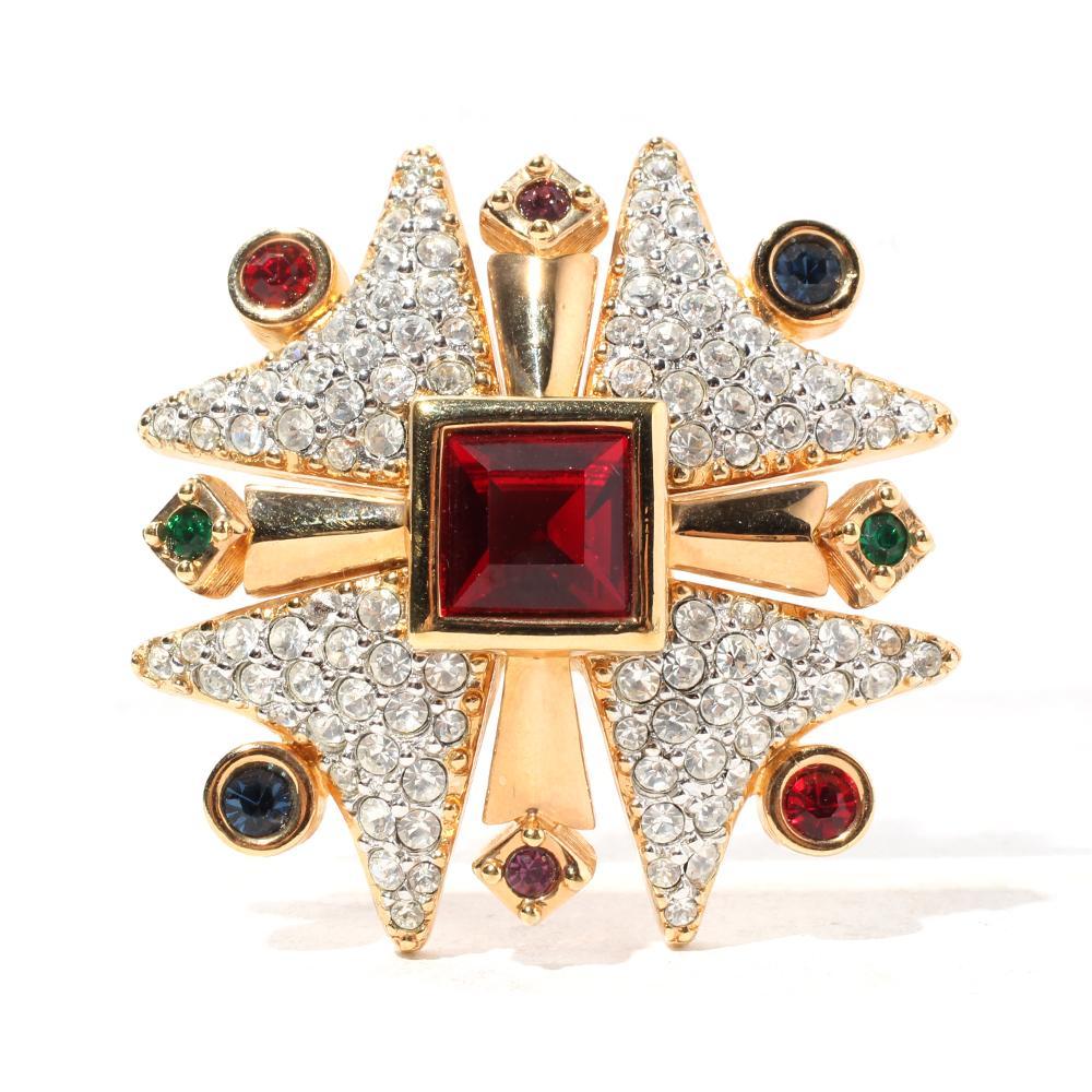 Swarovski Crystal Multicolor Maltese Cross Brooch