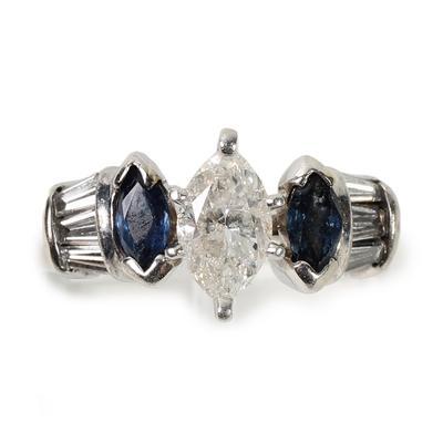 Platinum Size 7 Sapphire Diamond Ring