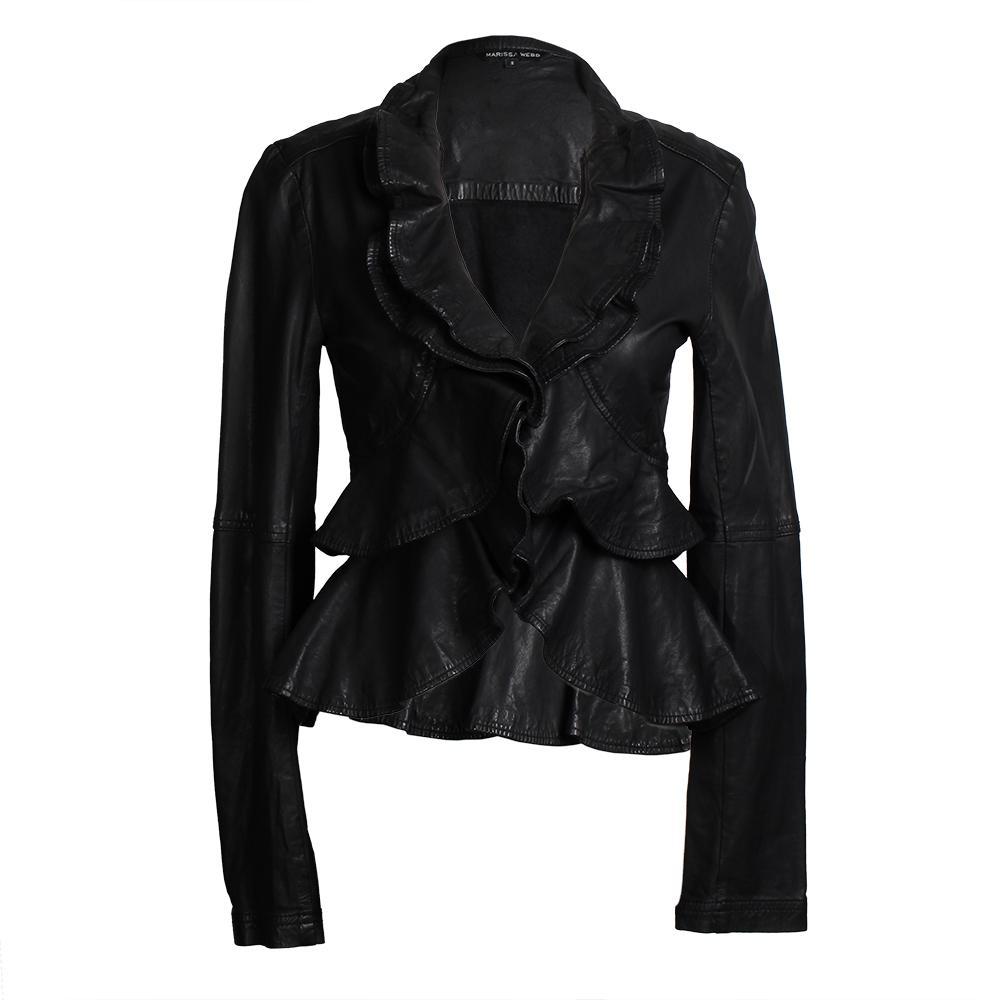 Marissa Webb Size Small Ruffle Front Leather Jacket